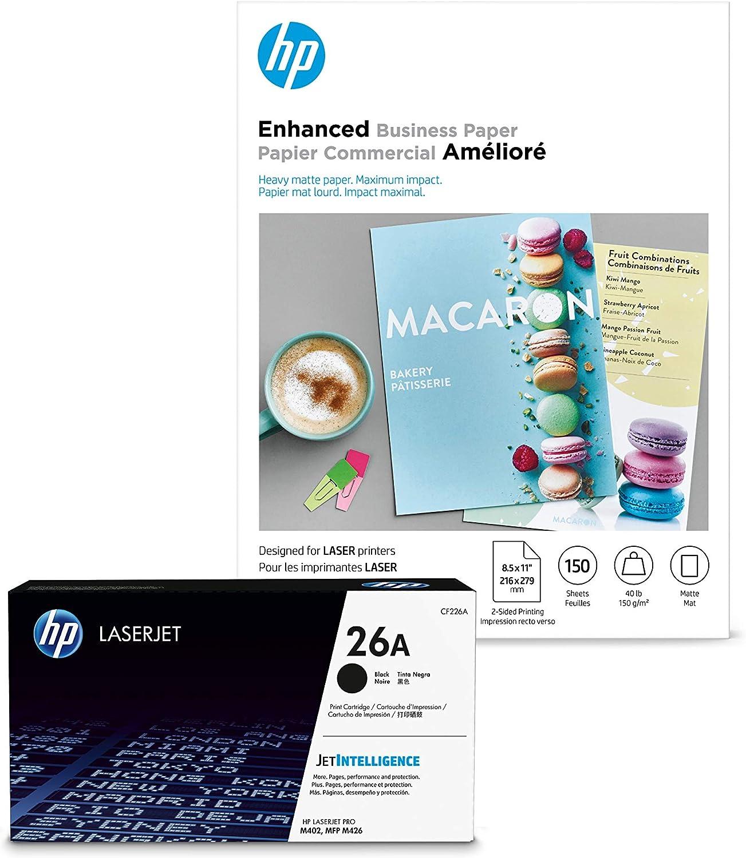 HP 26A Black Toner + HP Brochure Paper, Matte, Laser, 8.5x11, 150 sheets