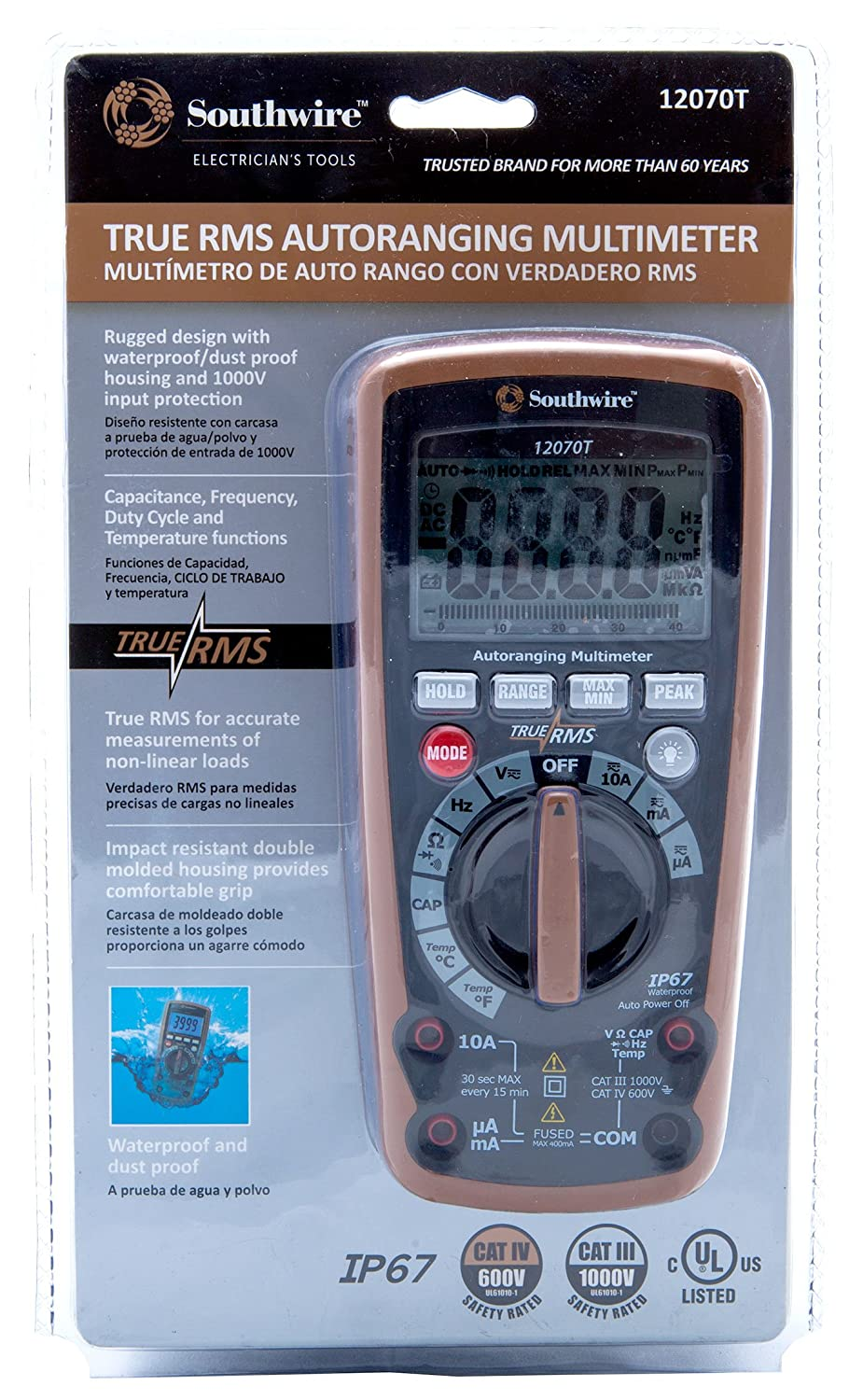 Southwire Tools Equipment 12070t True Rms Auto Ranging Ac Dc Figure 5 The Simple Digital Meter Circuit Is Completely Multimeter 10 Functions Multi Testers Industrial Scientific