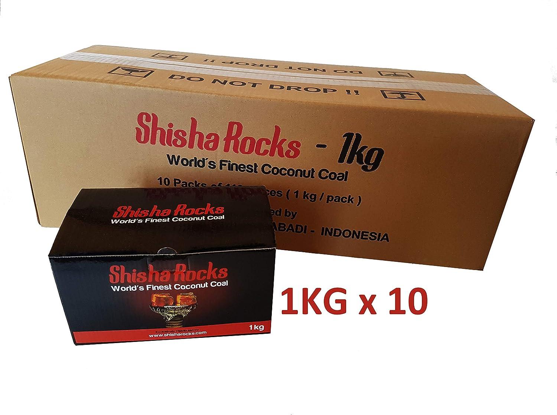 Carbón Shisha Hookah de 10 kg Carbón natural de coco por Shisha Rocks (10 x 1 kg - 112 Cubos) 90 minutos de tiempo de combustión, hecho de materiales 100% naturales.