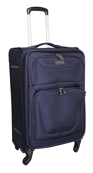 6805fdf95f4 Travel Club USA Polyester 28-inch 4 Wheel Expandable Trolley Suitcase (Dark  Blue)