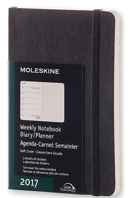 Moleskine DSB12WN2Y17 - Agenda semanal 12 meses, pocket 9 x 14, color negro