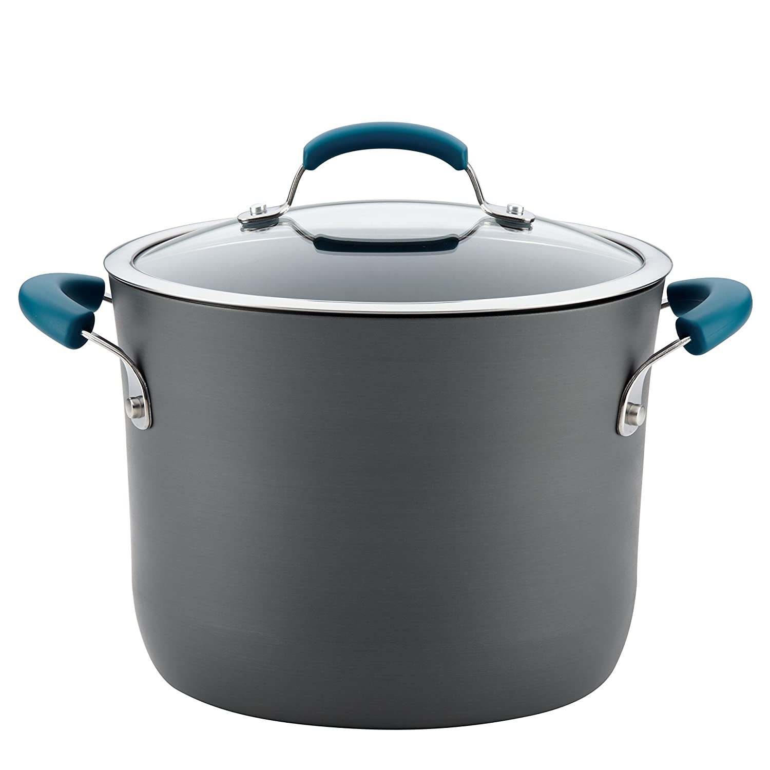 Rachael Ray Hard-Anodized Aluminum Nonstick Covered Stockpot, 8-Quart, Gray with Marine Blue Handles