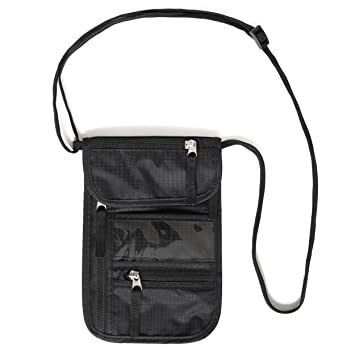 los angeles 23cfa ca8e2 Travel neck pouch by Nomalite | Slim, sturdy black neck wallet with 5  waterproof pockets for men, women and kids. Soft, invisible with RFID  security: ...