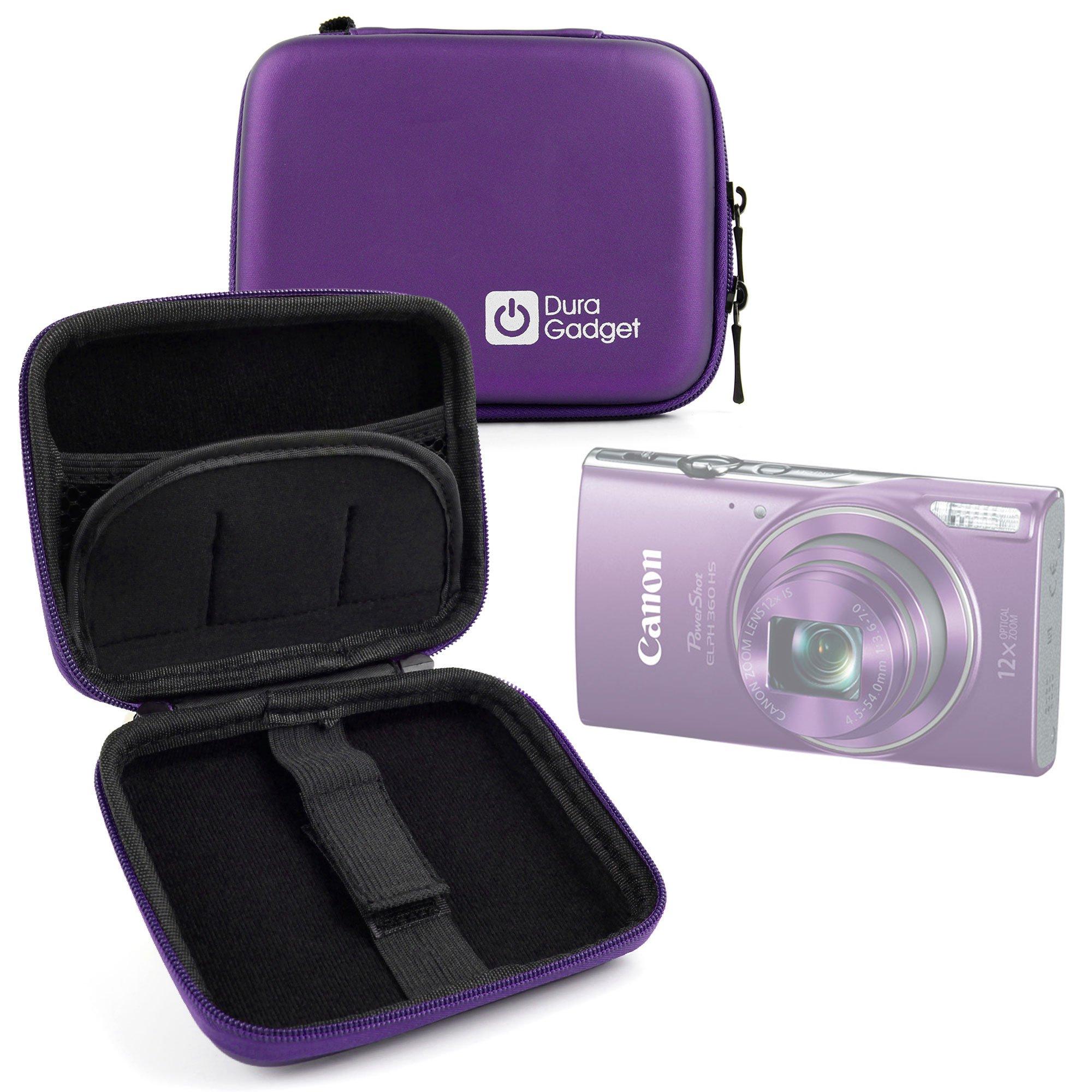 DURAGADGET Purple Hard Shell EVA Box-Style Case for the NEW Canon ELPH 360 HS |Powershot ELPH 180 |Powershot ELPH 190 IS