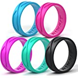 Silicone Wedding Ring For Women - 5 Rings Pack - Designed Medical Grade Silicone Rubber Band by Rinfit - Thin 5.5 mm wide - Comes with a Gift Box!