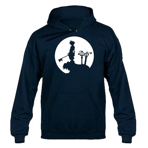 Kingdom Hearts inspired Sora Moon RPG Videogame Unisex Hoodie Hoody Hooded Sweater Navy Blue
