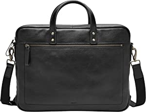 Fossil Men's Haskell Double Zip Leather Workbag Briefcase, Black, One Size US