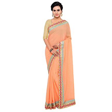 Chirag Sarees Designer Party Wear Orange Embroidered Saree hellip; Sarees available at Amazon for Rs.1710