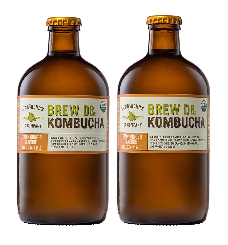 Brew Dr, Lemon Ginger Cayenne Raw Organic Kombucha, 14 Ounce