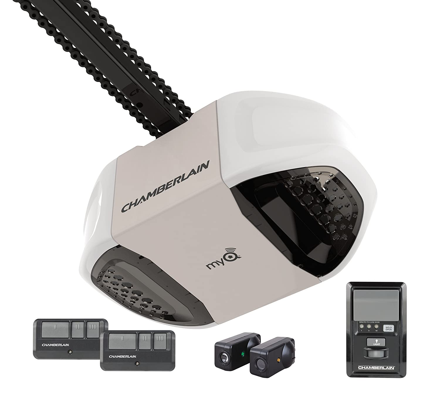 Chamberlain pd762ev garage door opener hp durable chain drive chamberlain pd762ev garage door opener hp durable chain drive operation myq smartphone control enabled internet gateway sold separately includes 2 3 rubansaba