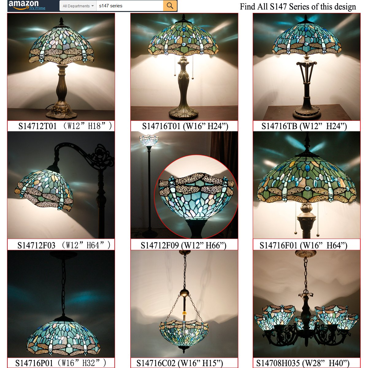 Tiffany Lamp With Sea Blue Stained Glass and Crystal Bead Dragonfly Table Lamp In Height 18 Inch For Living Room by WERFACTORY (Image #10)