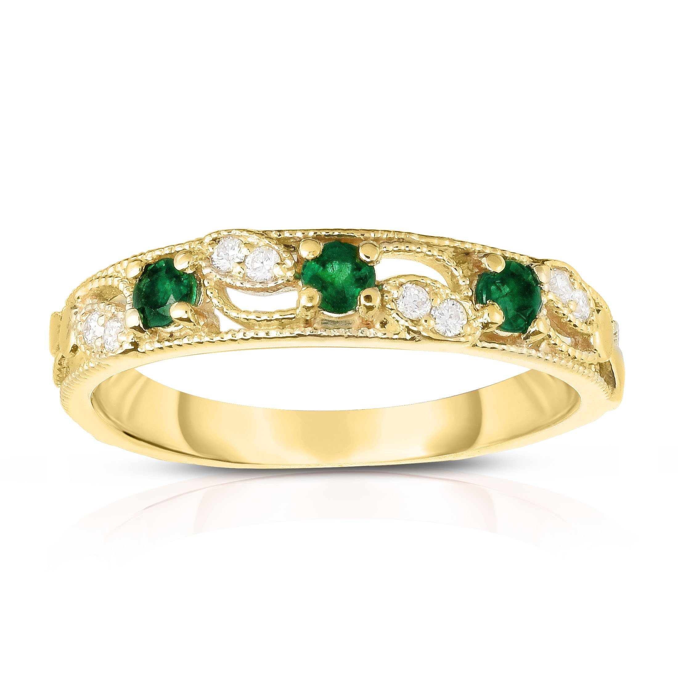 Noray Designs 14K Yellow Gold Emerald & Diamond (0.06 Ct, G-H, SI2-I1 Clarity) Stackable Ring