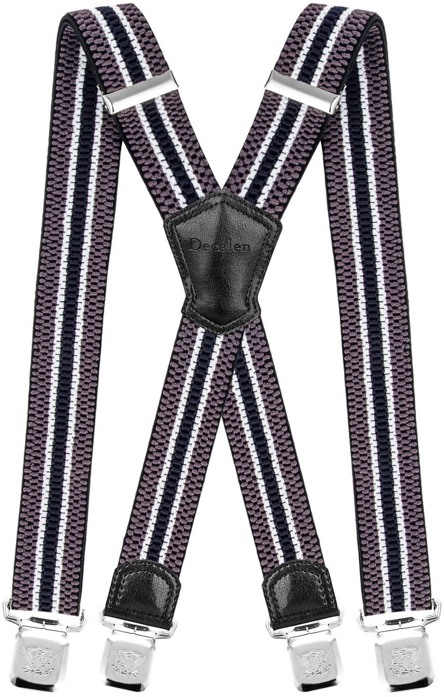 Decalen Mens Braces with Very Strong Metal Clips Wide 4 cm 1.5 inch Heavy Duty Suspenders One Size Fits All Men and Women Adjustable and Elastic X Form Model E-15