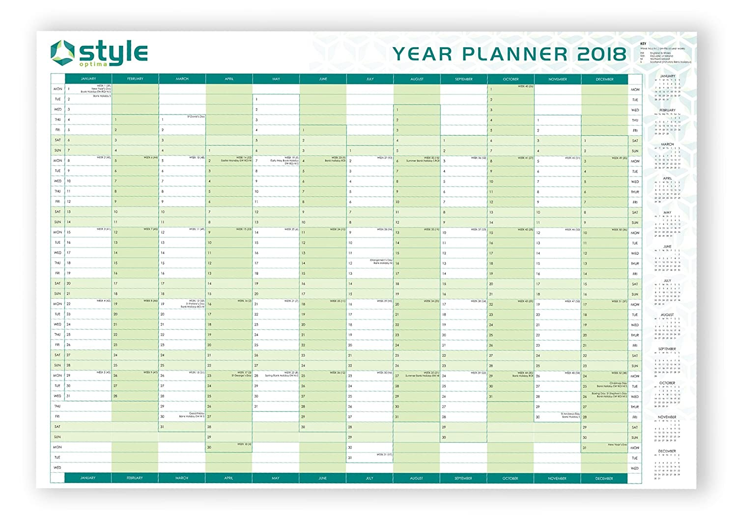 2018 A1 Large Laminated Yearly Wall Planner With Staff Holiday Planner Double Sided Plus Stickers & Pen Office Style