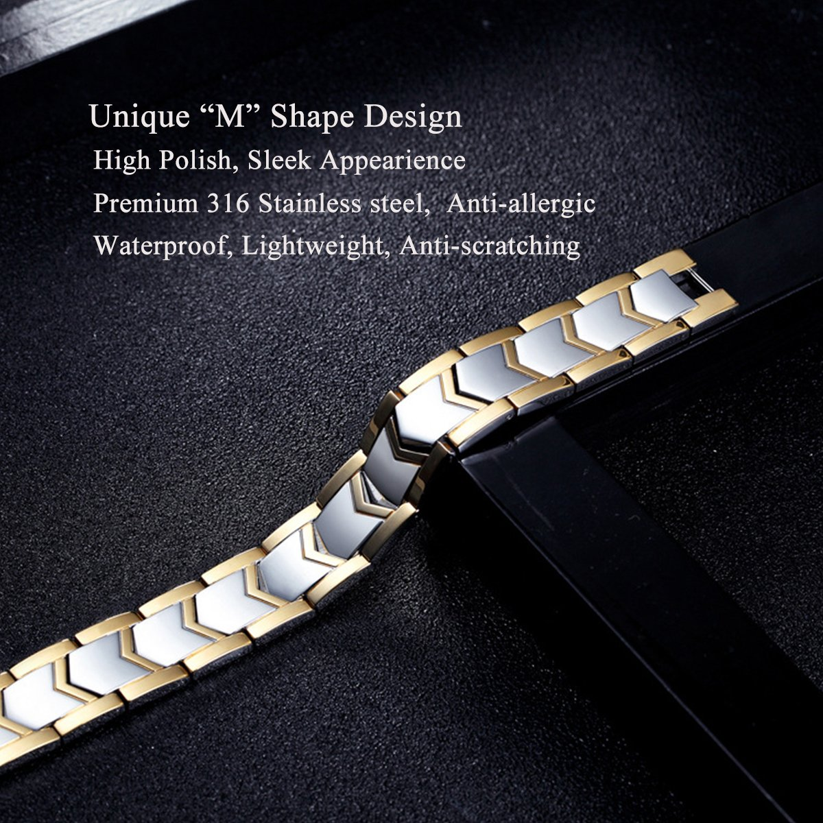 Jeracol Magnetic Bracelet Men Double Strength Health Therapy Wristband Pain Relief for Arthritis with Remove Tool, Sliver Gold