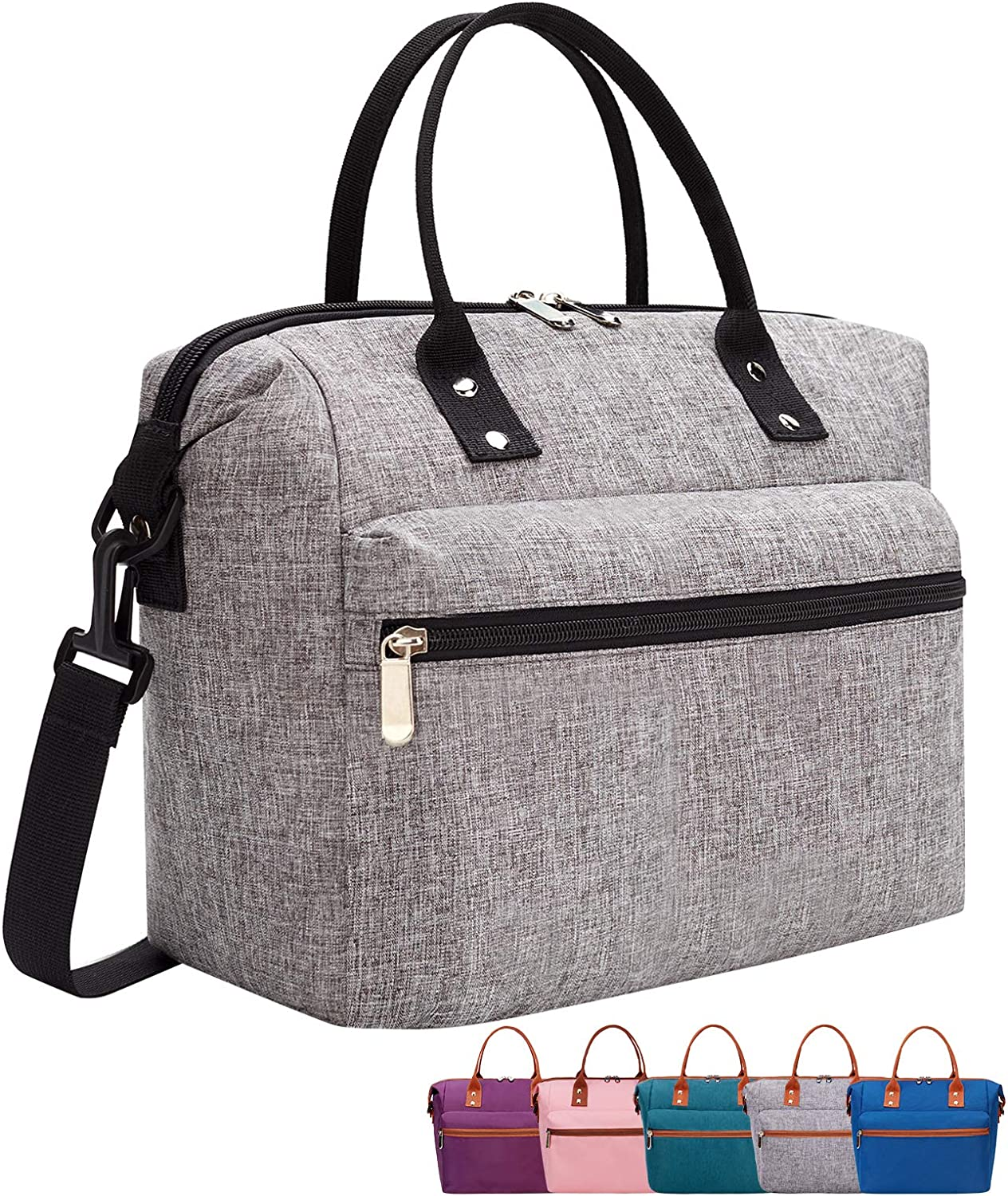 Leakproof Insulated Lunch Tote Bag with Adjustable & Removable Shoulder Strap, Durable Reusable lunch Box Container for Women/Men/Kids/Picnic/Work/School-Gray