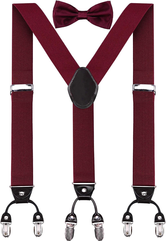 WIN.MAX Tirantes Ancho 35 mm Y-Forma con 6 Clips Extra Fuerte 1 Conjunto Pajaritas Elásticos Elástico y Longitud Ajustable Diferentes Estilos Tela Gruesa Una Talla Para Todos