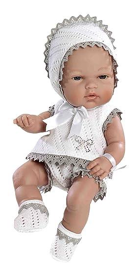 ARIAS - Muñeca bebé Natal, con elementos swarovski, color gris, 33 cm (