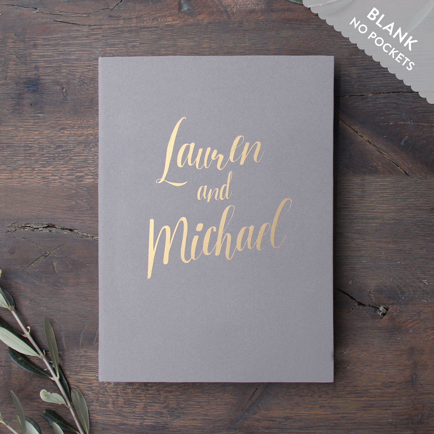 Wedding Instant Guestbook Grey with White Lettering Sign in Book- with empty pages