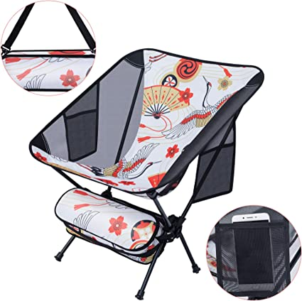 Nicec Ultralight Portable Folding Camping Backpacking Chair Compact Heavy Duty Outdoor Camping Bbq Beach Travel Picnic Festival With 2 Storage Bags Carry Bag 1 Pack Of Crane Amazon Ca Sports Outdoors
