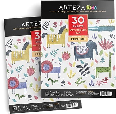 Arteza Cuadernos de acuarela para niños | Pack de 2 | Blocs de papel de acuarelas | 30 hojas de 22,9 x 30,5 cm | 200g: Amazon.es: Oficina y papelería