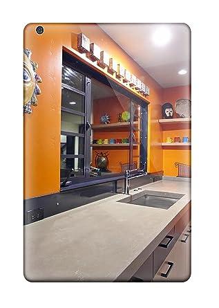 Stabiler Beton Kuchenplatte Mit Orange Accent Wand In Kuche Back