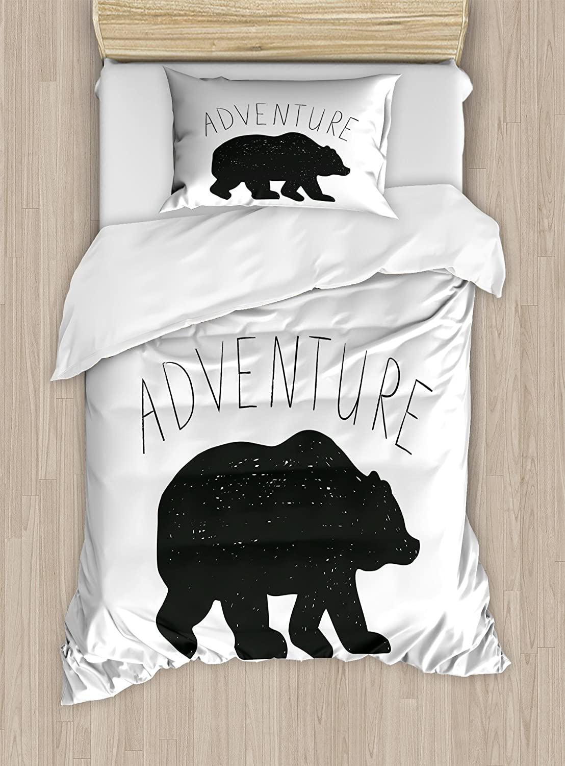 Ambesonne Adventure Duvet Cover Set, Black Silhouette of a Wild Bear Zoo Animal Nature Passion Hipster Design, Decorative 2 Piece Bedding Set with 1 Pillow Sham, Twin Size, Grey White