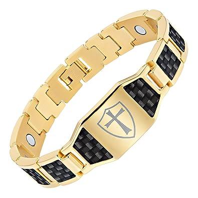 12c8a8a441a1e Willis Judd Men's Knights Templar Cross Shield Magnetic Bracelet with Black  Carbon Fiber