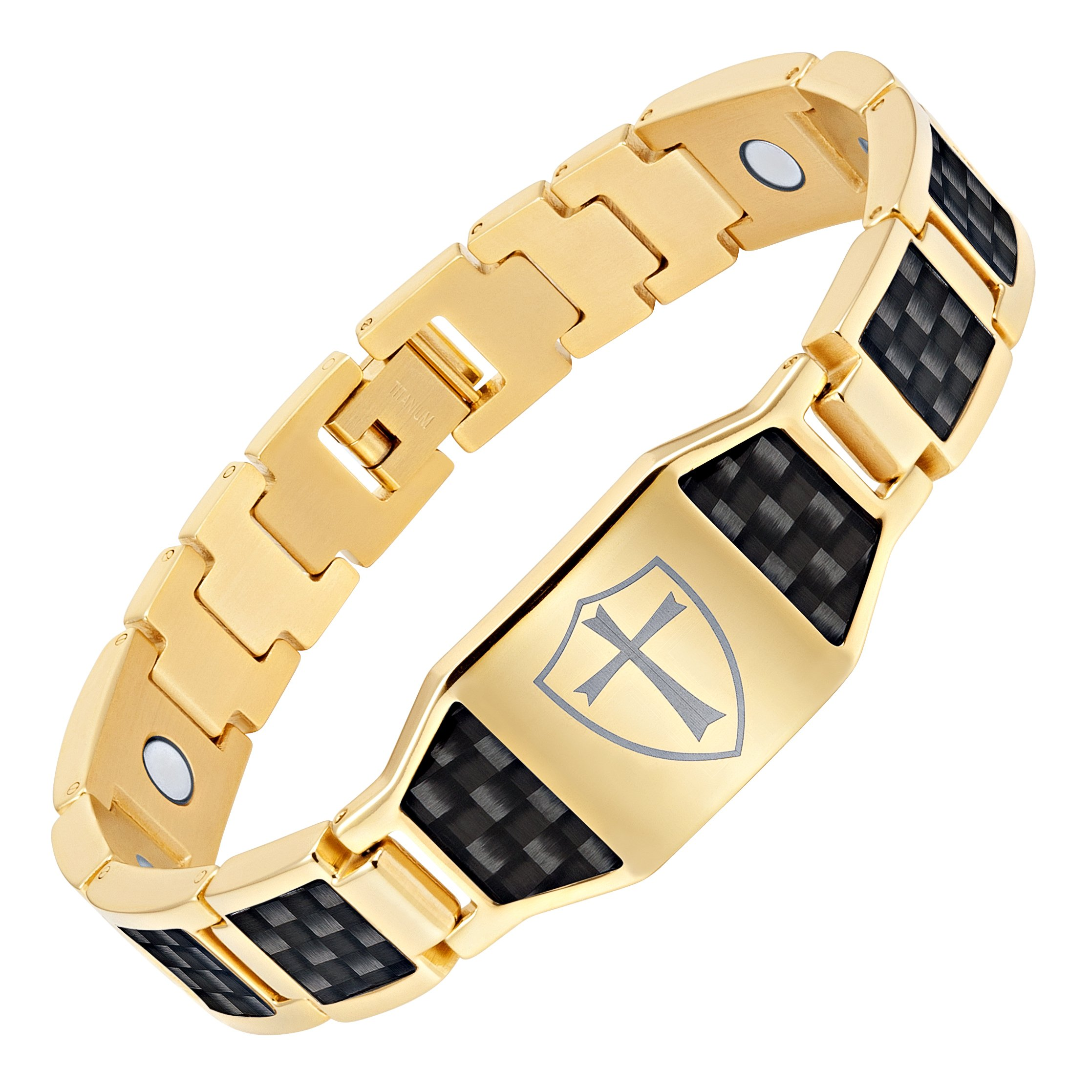 Willis Judd Men's Knights Templar Cross Shield Magnetic Bracelet with Black Carbon Fiber