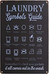 PXIYOU Laundry Symbols Guide Typography Vintage Vintage Metal Laundry Room Sign Home Decor Collection Balck 8X12Inch