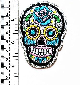 Parche con diseño de calavera mexicana con ojos de rosas y ...