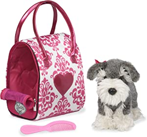 Pucci Pups by Battat Leopard Print Plush Bag and Pug, Schnauzer & Pink White Plush Bag