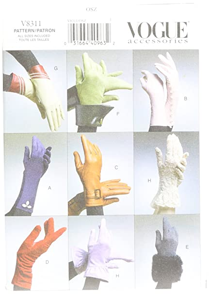 Amazon.com: Vogue Patterns V8311 Gloves, All Sizes: Arts, Crafts ...