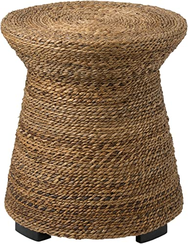 EAST at MAIN Divine Brown Abaca Round Accent Table, 19.5×19.5×21.5