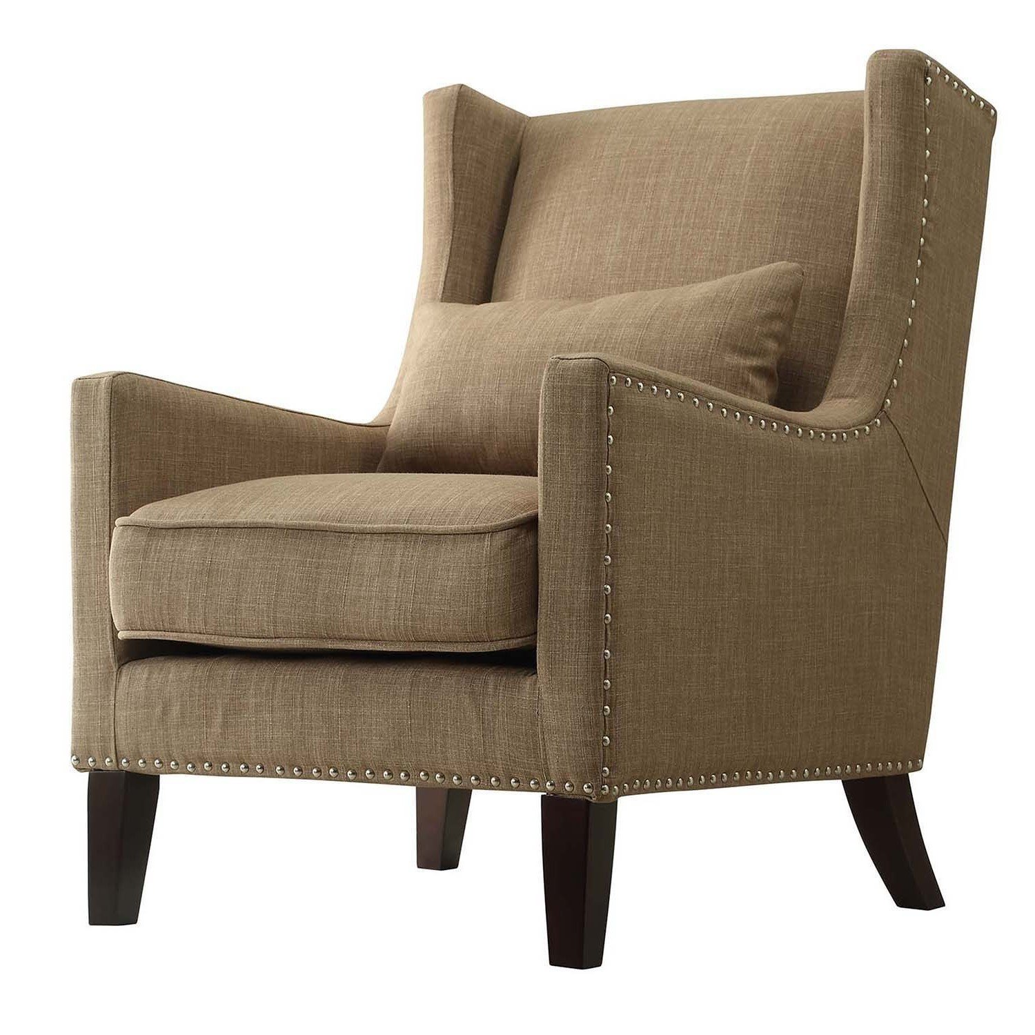 Amazon.com: Silla contemporánea Tan Linen Accent WINGBACK ...