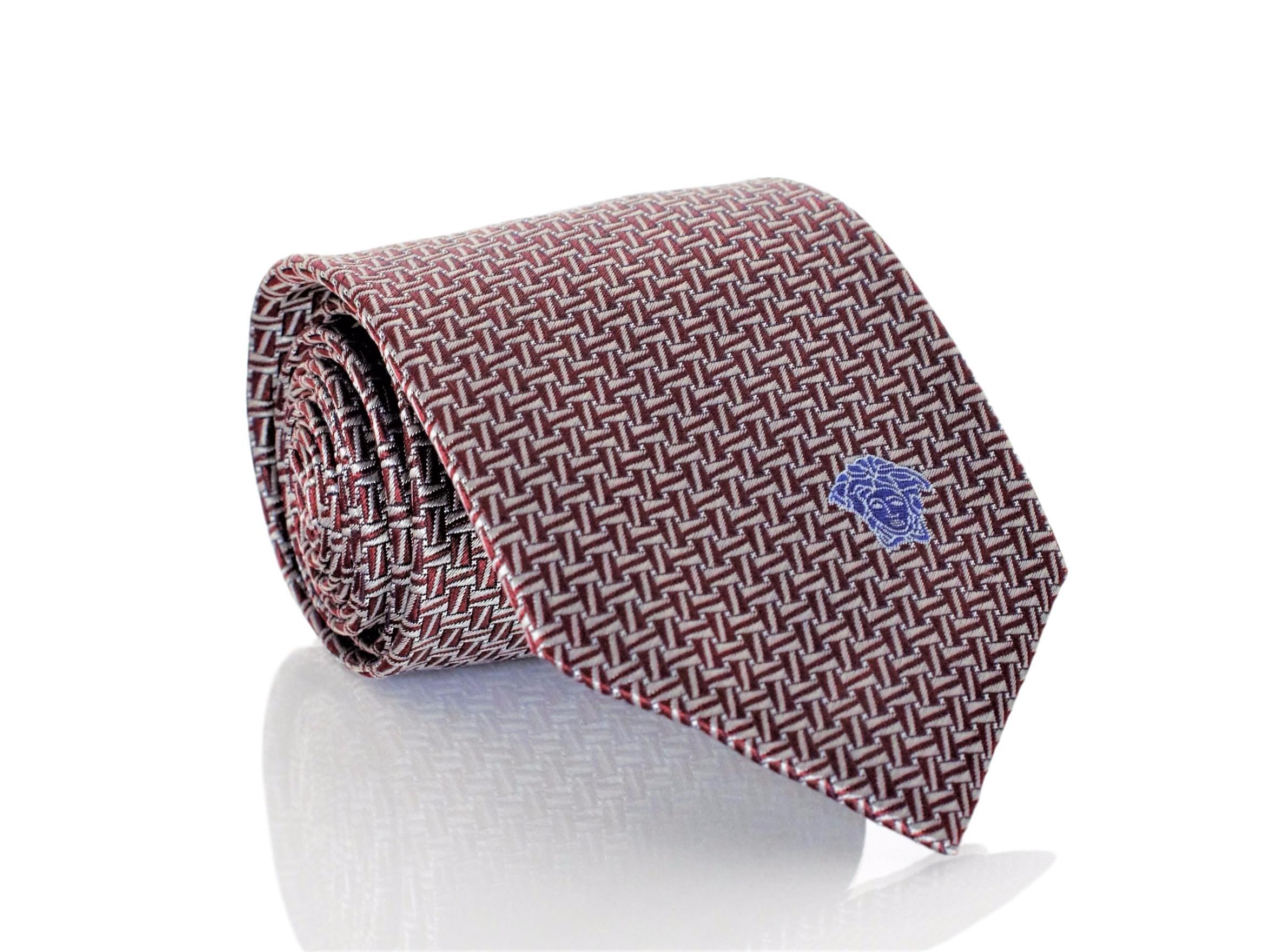 Versace Men's Dizzy Rectangles Woven Silk Necktie Burgundy-SIlver