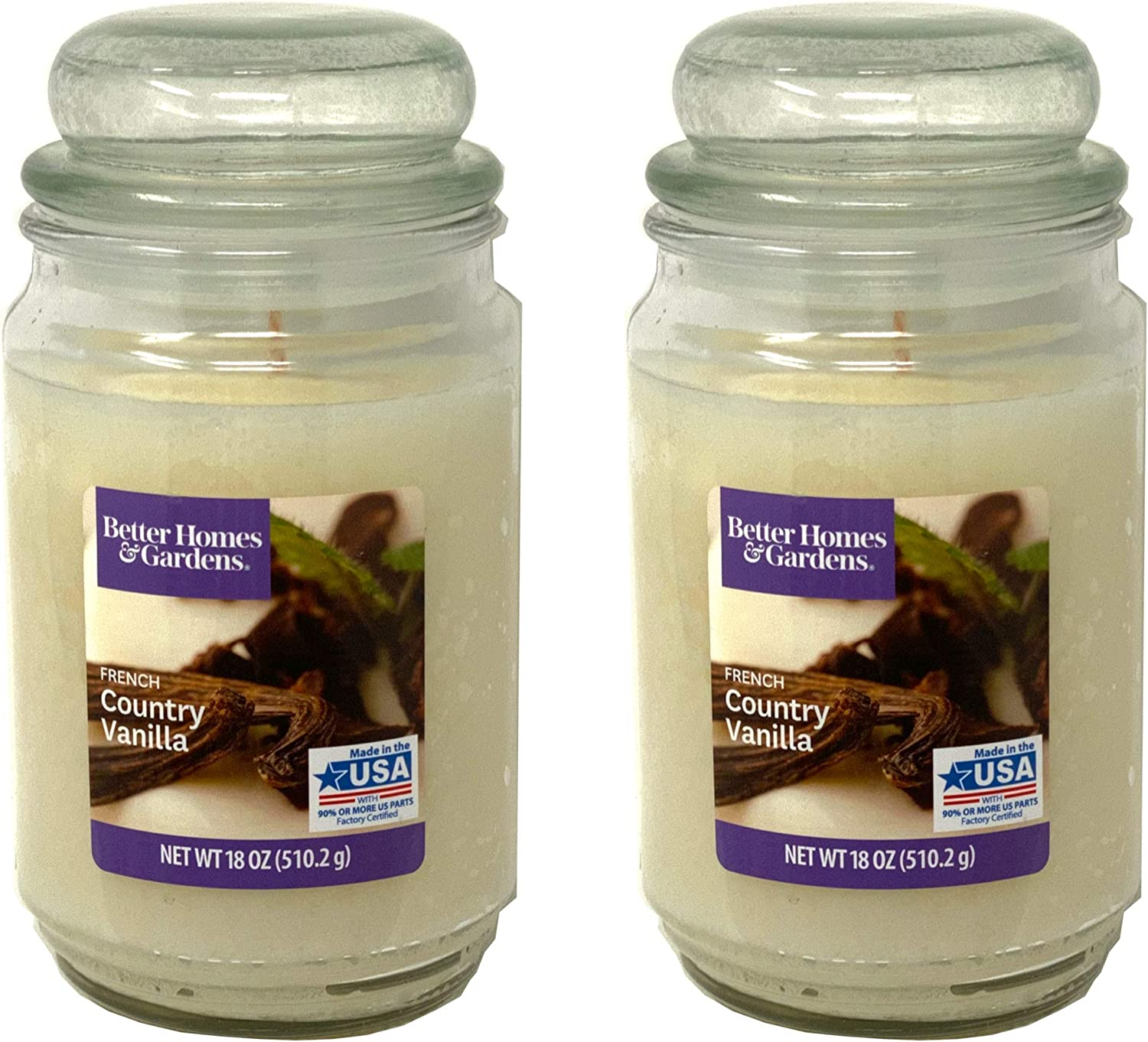 Better Homes Gardens 18oz Scented Candle, French Country Vanilla 2-Pack
