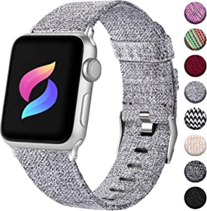 Haveda Fabric Compatible for Apple Watch Band Series 6 Series 5/4 40mm, Soft Accessories for Apple Watch SE, iwatch Bands 38mm Womens, Cloth for Apple Watch Band 38mm Series 3 2/1 Men (Light Gray)