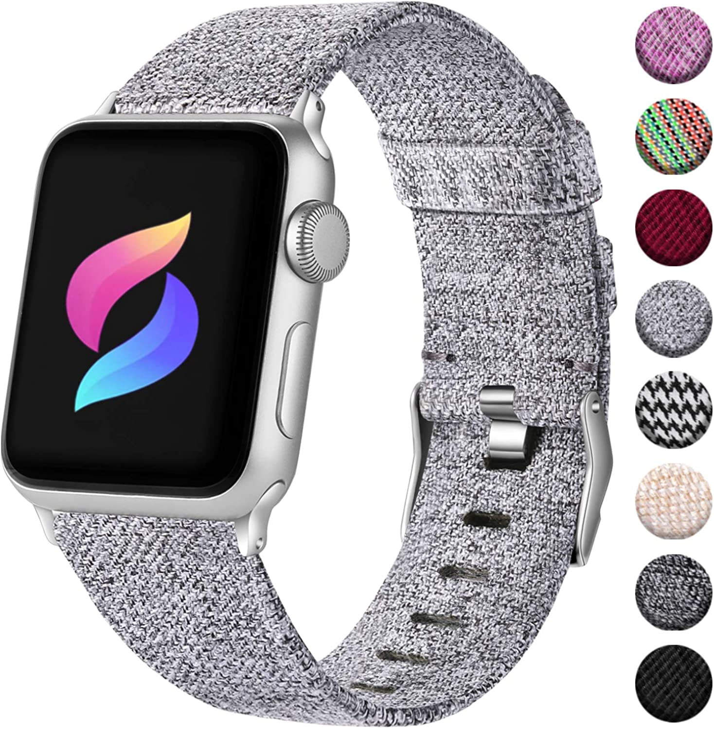 Haveda Fabric Compatible for Apple Watch series 6 40mm 44mm Series 5 4 band, Soft Woven Canvas Nylon Wristband for Apple Watch SE, Apple Watch 38mm 42mm iwatch Series 3 2/1 Men Kids Small Large