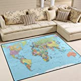 Naanle Education Educational Area Rug 5'x7', Borders Countries Roads Cities Detailed World Map Polyester Area Rug Mat for Living Dining Dorm Room Bedroom Home Decorative
