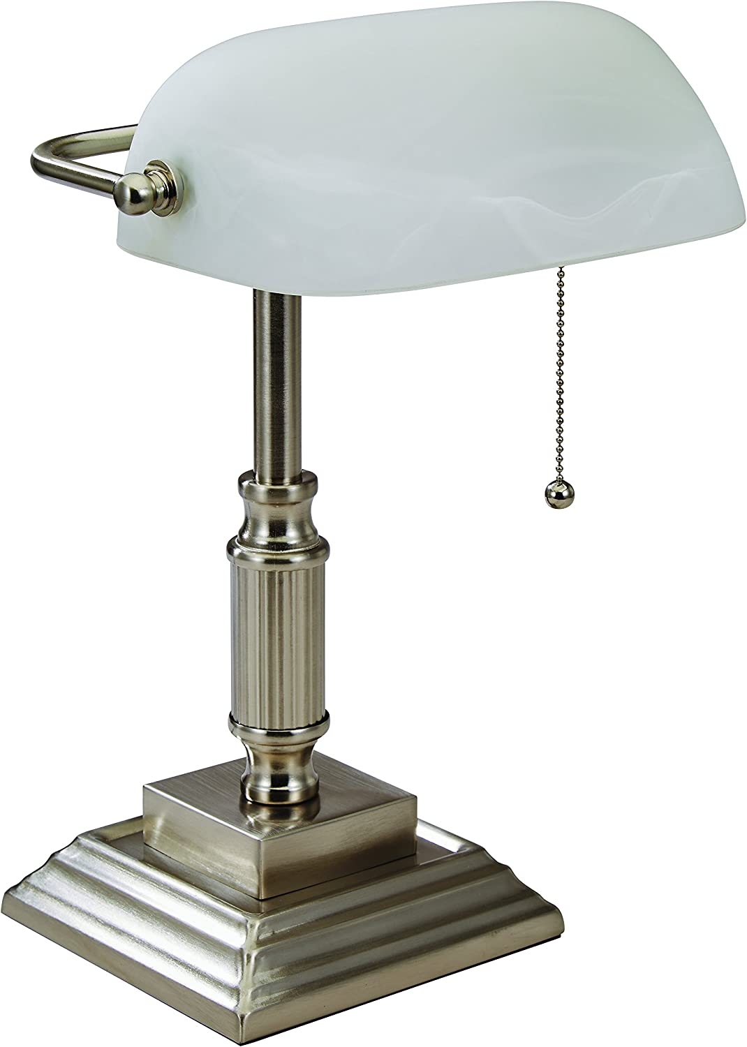 V-LIGHT White Shade Banker's Lamp with Replaceable LED Bulbs, Brushed Nickel Finish (8VS688029BN)