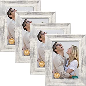 decanit 4x6 Picture Frames Rustic Distressed White Wood Pattern High Definition Glass for Table Top Display and Wall Mounting Photo Frame,Pack of 4