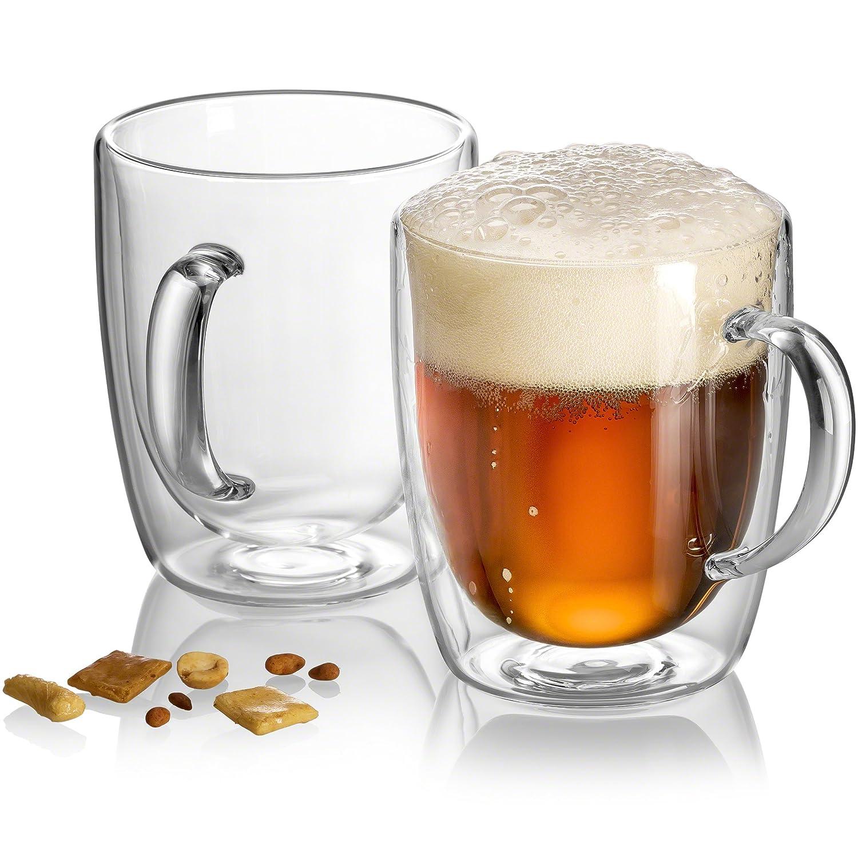 Pint Glasses - Double Wall Glass - Beer Mugs for Freezer - Dishwasher Safe - 18 oz (Set of 1) JECOBI
