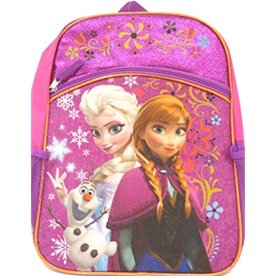 "Disney Frozen Princess Elsa & Anna Backpack, Large 16"" School Bag, New Licensed Design (Style 1): Clothing"