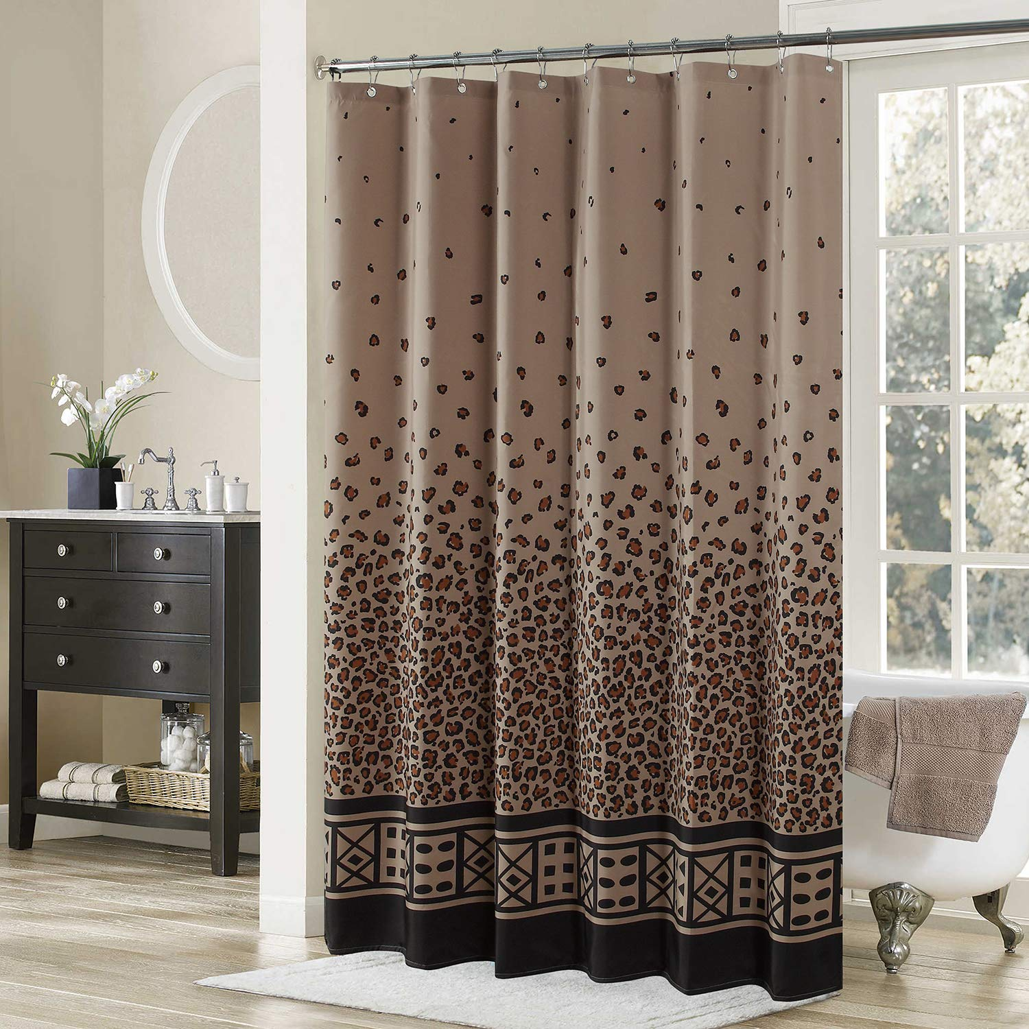 DS BATH Leopard Shower CurtainBlack Fabric CurtainVintage Curtains For BathroomBrown Bathroom CurtainsPrint Waterproof Curtain78