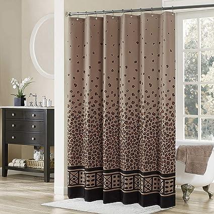 DS BATH Leopard Shower CurtainBlack Fabric CurtainVintage Curtains For Bathroom
