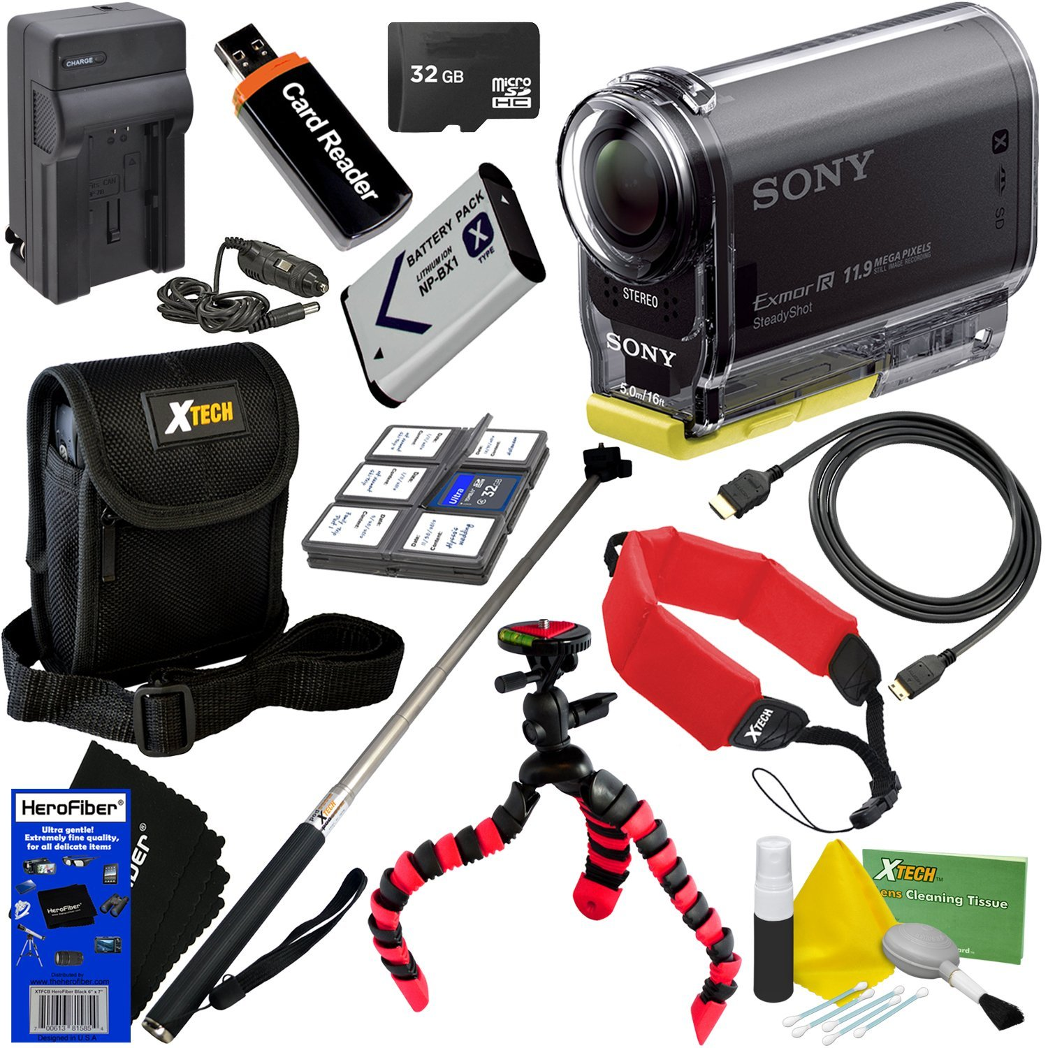 Sony HDR-AS20 Action Video Camera with Wi-Fi, NFC & Full HD 1080p Video International Version + NP-BX1 Battery & AC/DC Charger + 10pc 32GB Deluxe Accessory Kit w/HeroFiber Cleaning Cloth