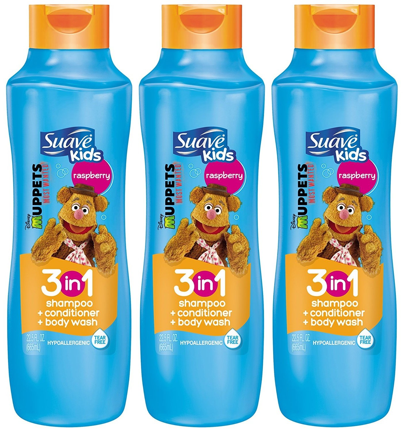 Suave Kids 3 in 1 Shampoo Conditioner and Body Wash, Razzle Dazzle Raspberry, 22.5 Ounce (Pack of 3) Packaging May Vary