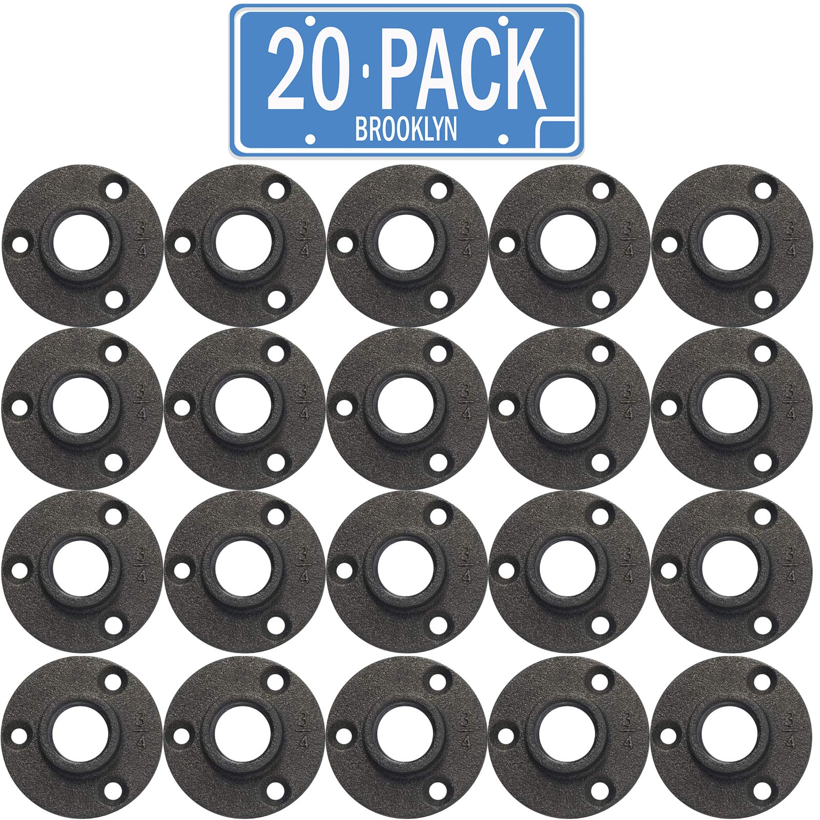 Brooklyn Pipe Flange - 20 Pack 3/4'' Black Floor Flange Cast Iron Pipe Fittings | Our 3/4 Inch Pipe Flange | Industrial Pipe Flanges | Decorative Pipe Fitting Fit for Steampunk Furniture by Brooklyn Pipe