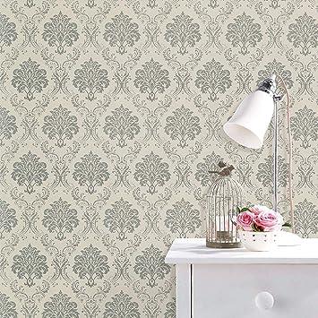 Green Damask Wallpaper Waterproof Wall Sticker Self-Adhesive  Covering  Rolls